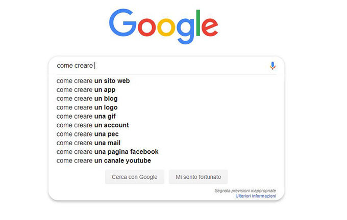 Google search box per trovare idee di content marketing
