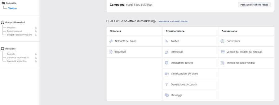 Livello campagna Facebook Ads