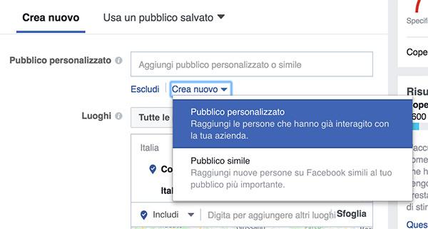 Scegli pubblico personalizzato Facebook