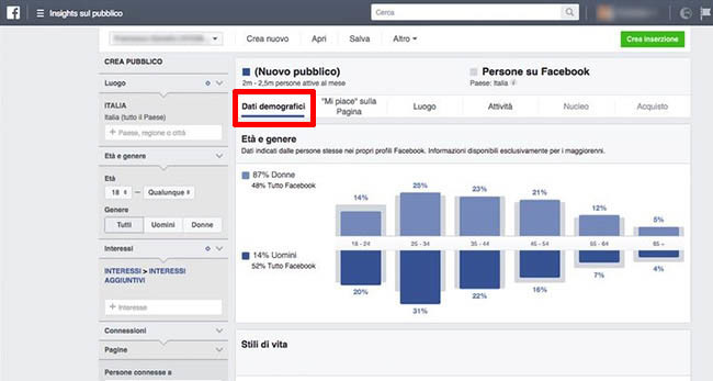 Pagina dati demografici di Facebook Audience Insight